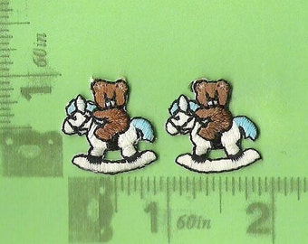 Tiny pair of teddy bears on rocking horses iron on patches