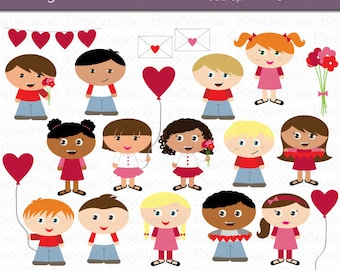 Valentine Kids Digital Art Set Clipart Commercial Use Clip Art INSTANT Download Valentine Clipart Valentines Day Clip Art