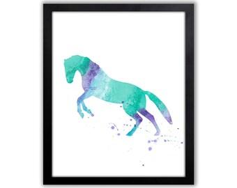 Equestrian Art Print, Modern Watercolor Art, Horse Art, Animal Painting - HO016