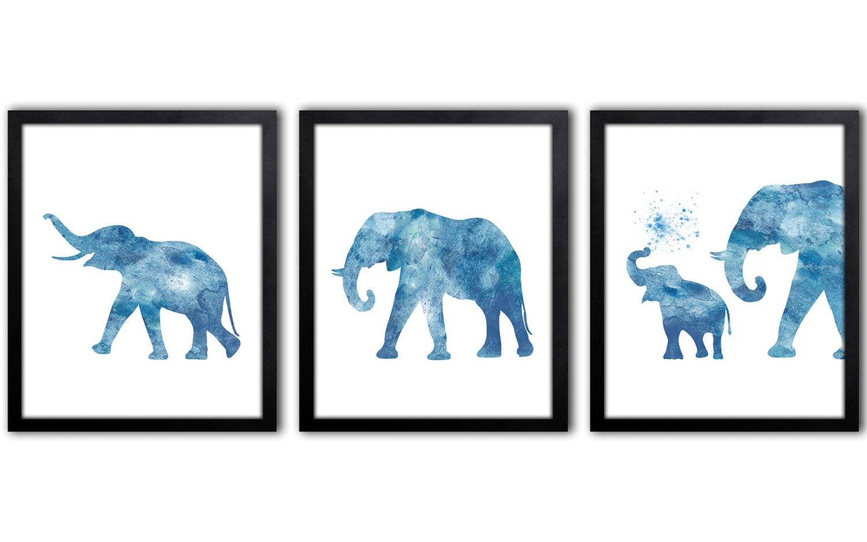 Navy Blue Elephant Decor Elephant Wall Art Baby Elephant