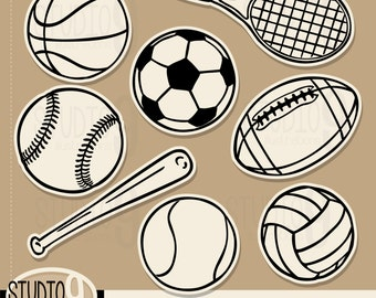 Sports Clip Art: VINTAGE SPORTS BALLS Clipart