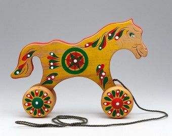 Wood Horse - Toy on Wheels - Push Toy - Pull Toy - Rolling Toys - Eco Toy - Horse Toy - Push & Pull Toys - Horse With Wheels - Wooden Toys