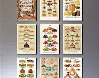 9 Victorian Print Fridge magnets From Mrs Beeton's Cook Book - Repro, Shabby
