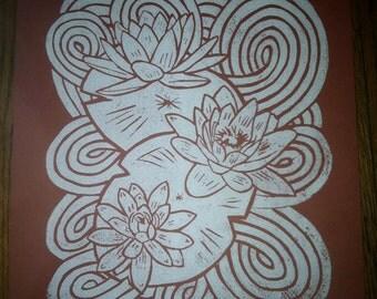 Lotus Flowers Lino Block Print 8x10