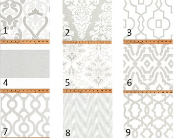 French Grey Print Window Curtains- Window Treatments- Pair Of 50 Inch Wide Drapery Panels-