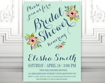 Printable Bridal Shower Invitation - Vintage Floral Invitation - Wedding Invitation  - Bridal Shower - Printable Digital File - DIY - Mint