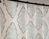 Custom Fabric Shower Curtain Monroe Slub Snowy Grey Blue White long Shower curtain Extra Wide shower curtain 72 x 84 108 54 x78 Stall