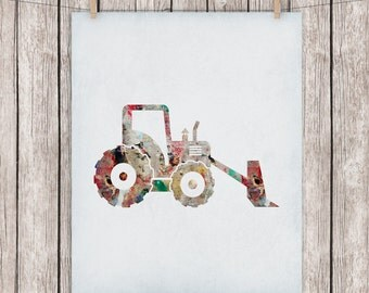 Construction Truck Printable Art Nursery Construction Vehicle Print Construction Rustic Art Print 8x10 Digital Print Instant Download