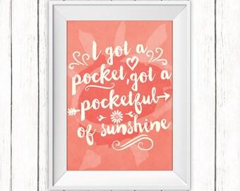 Typography Printable Art Pocketful of Sunshine Quote Happy Art Print Natasha Bedingfield Coral Wall Art 8 x 10 Instant Download Digital File