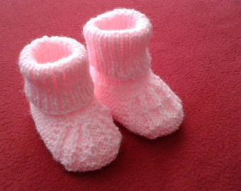 Hand Knitted Baby Booties 0-3 months Pink