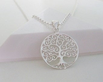 """Silver Tree of Life Pendant Necklace 925 Sterling Silver, Ball or Belcher chain, 18"""" or 35"""", gift for her, gift for women, bridesmaid gift"""