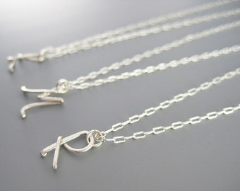 Cursive Initial Necklace - silver personalized uppercase capital letter, small delicate silver plated chain, wire charm pendant, custom