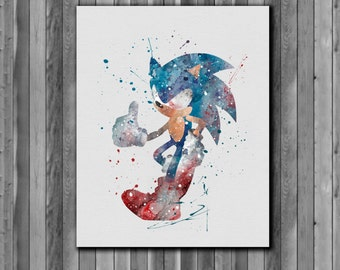 Sonic the Hedgehog poster watercolor, Sega - Art Print, instant download, Watercolor Print, poster