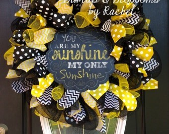 black and yellow deco mesh you are my sunshine wreath