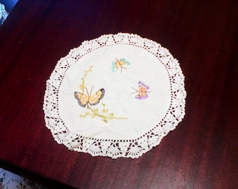 Butterfly  Doily, Hand crocheted and Embroidered