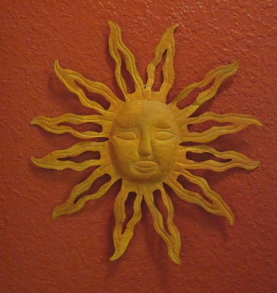 Lovely Large Vintage Metal Sun Face Wall Hanging Upcycled