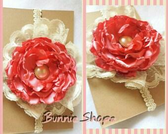 Baby Girl Vintage Headband with Big Flower