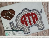 Instant Download Applique Elephant with Football Heart Design