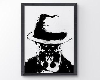 Watchmen rorschach, Watchmen Poster, ink blot, Art Print, Black and White Art, Minimalist Art, Minimalist Movie Poster, Wall Art A3 Size
