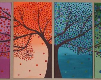 4 Panel Seasonal Tree