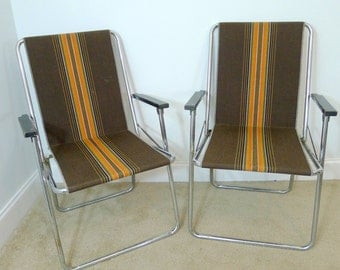 Vintage Folding Lawn Chairs Canvas Lawn Chairs Chrome