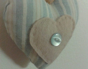 Handmade Hanging Heart Stuffed Fabric Decoration - Pale Blue