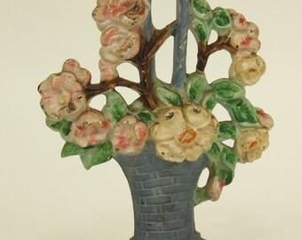 Antique Hubley Cast Iron Apple Blossoms Door Stop