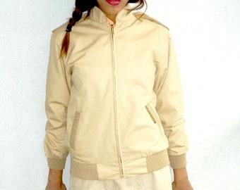 Bone Beige Original 1980's Sandbagger Light Jacket. Size 10-small 12. As new from Vintage Stock