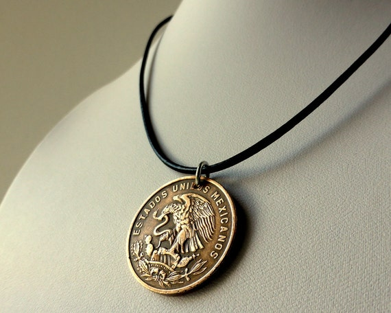 mexican necklace coin necklace mens necklace mens by