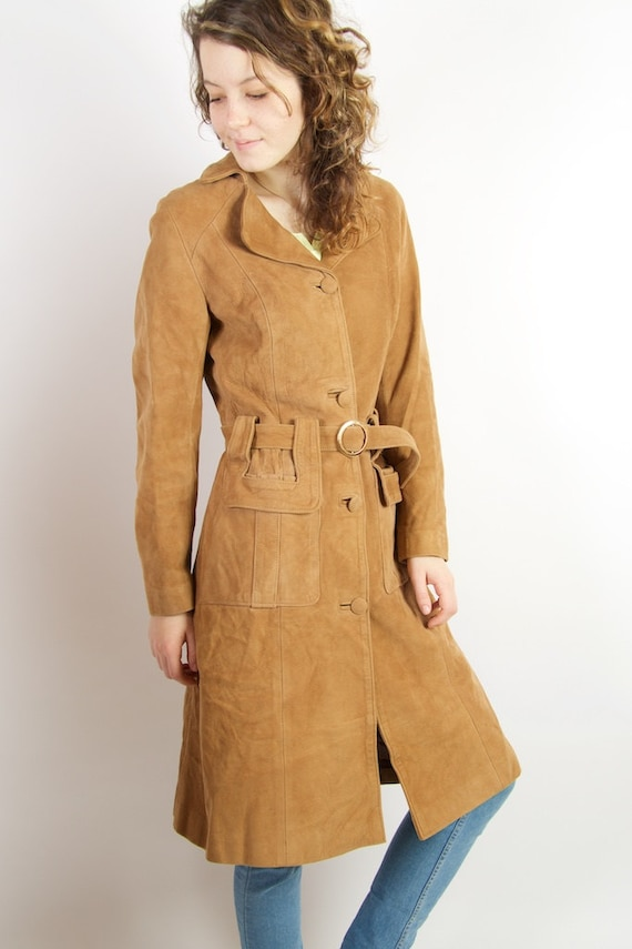 Light Brown Suede Trench Coat Womens Caramel Brown Genuine