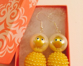 Easter Chick Pearl with Yellow Pearl Bead Dangle Earrings