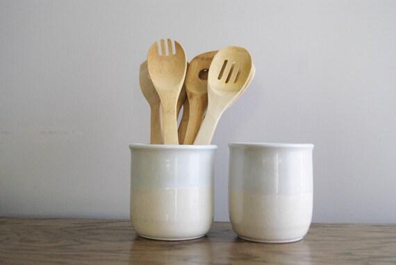 white ceramic utensil holders pottery utensil crock