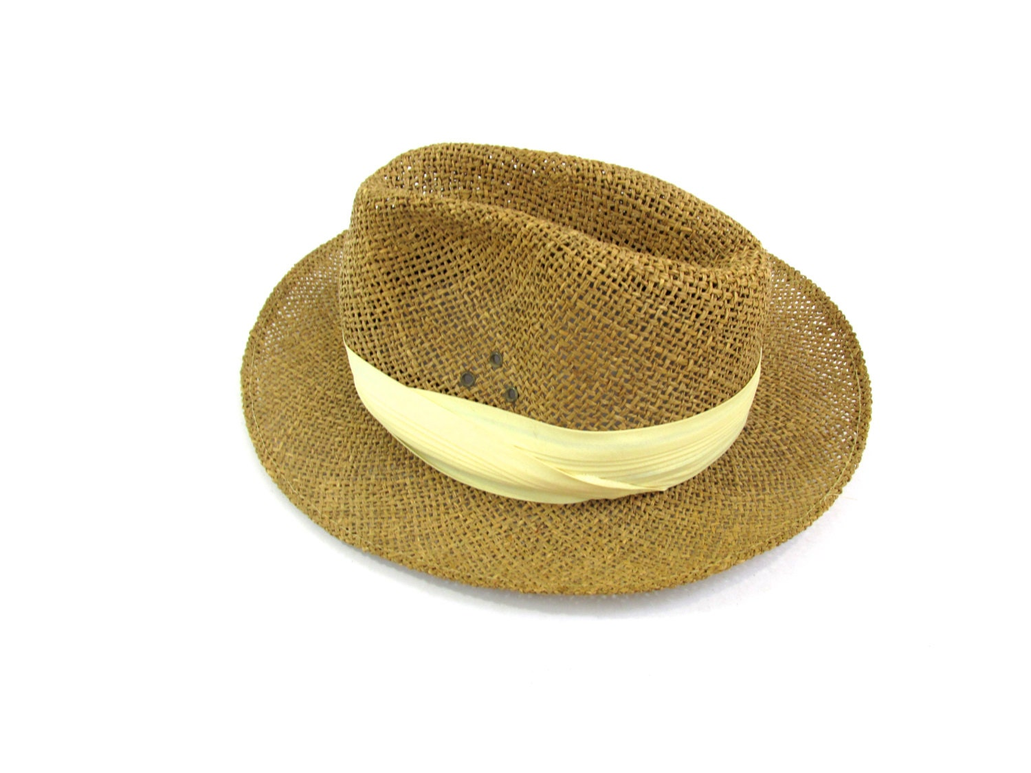 straw fedora summer hat womens straw hat large by colonyvtg