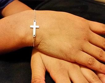 Sideways cross bracelets,Gold crucifix bracelet, 14k gold cross bracelet,Pink 10k gold cross bracelet.