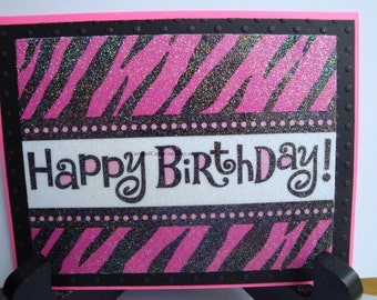 Animal Print Birthday Card. Napkin Technique.  Wild Pink and Black Animal Print.  Sparkle.  Heat Embossed.  Happy Birthday.  Textured.