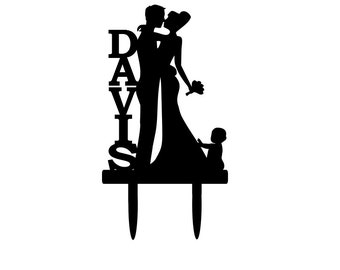 Personalized Bride and Groom Silhouette Wedding Cake Topper with baby Bride & Groom Dancing Cake Topper Family infant last name surname