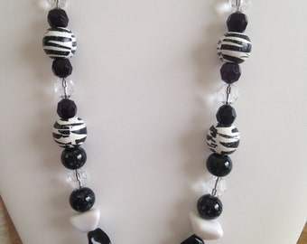 Black and White Statement Necklace  Long Length