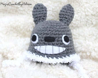 Newborn crochet hat, Crochet hat Totoro, Animal crochet hat, Photo prop Newborn