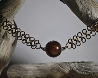 Two-tone Brown Chainmaille Choker with Brown Stone Pendant