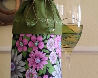 Deluxe Wine Bag-Flower Power Collection (Olive n' Magenta)