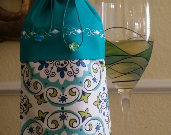Wine Bag-Deluxe-Whimsical Collection (Turquoise n GREEN)