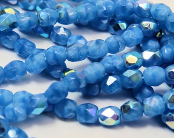 4mm Baby Medium Blue AB Two Tone Czech Glass Faceted Fire Polished Opaque Bluebird Cornflower, 50 Beads, PFP4mm007