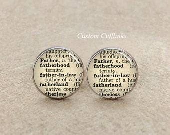 father's cufflinks,father in Law cufflinks, Dictionary Cufflinks, Vintage cuff links, Custom Cufflinks, Birthdays Gift, Father's Day Gift
