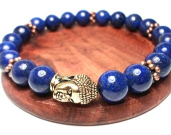 Bracelet of Lapis Lazuli - Yoga bracelet healing bracelet Reiki Bracelet Om bracelet Chakra bracelet Egyptian bracelet Blue bracelet Ladies