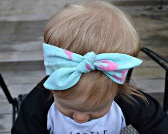 Headband | Pink Deer on Mint Baby/Children/Infant/Adult Girl Headwrap/Headband
