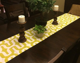 Green and White Table Runner 13x84 inches ~~ Table Runners For Weddings or Home Decor