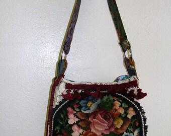 Boho Shoulder Bag/Purse, Needlepoint, Vintage knobbed Crochet, Tapestry
