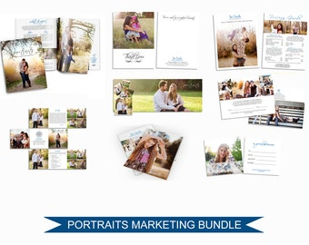 Photographer Marketing Bundle - Client Welcome  Kit - Templates for Photographers - Photoshop Templates - Trifold Brochure - M009