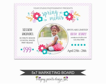 Spring Mini Session Marketing Board - Template for Photographers - Digital Photoshop Template - 5x7 Photography Design - SMS07
