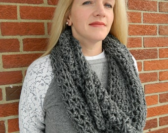 Crochet Infinity Scarf, Circle Scarf, Loop Scarf, Crochet Cowl Scarf, Gray Infinity Scarf, Can be worn 2 different ways!